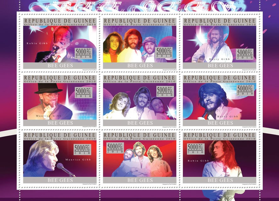 Bee Gees - Issue of Guinée postage stamps