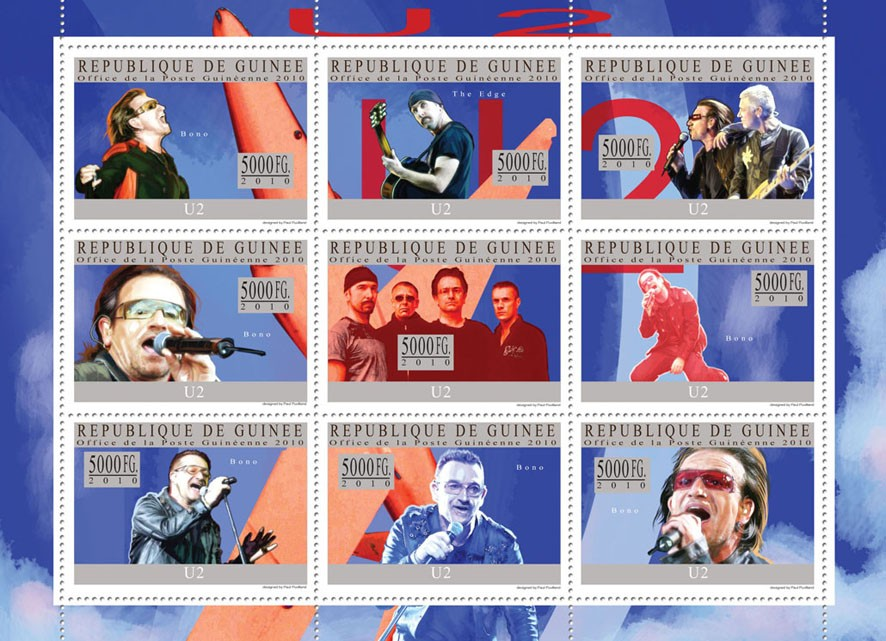 U2 - Issue of Guinée postage stamps