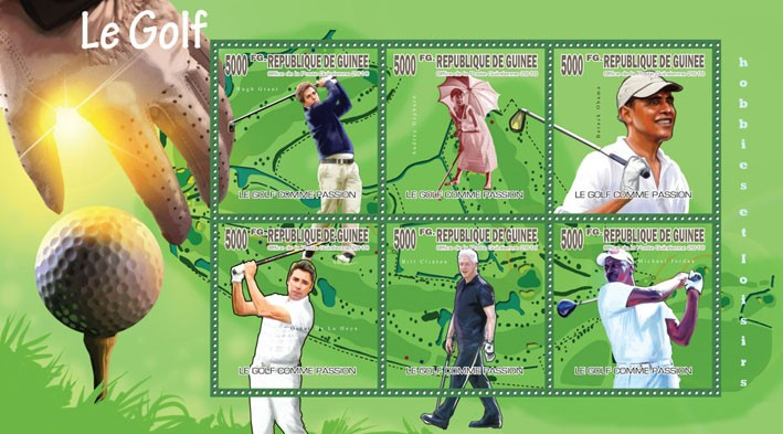 Passion of Golf, (H.Grant, A.Hepburn, B.Obama, B.Clinton, M.Jordan) - Issue of Guinée postage stamps