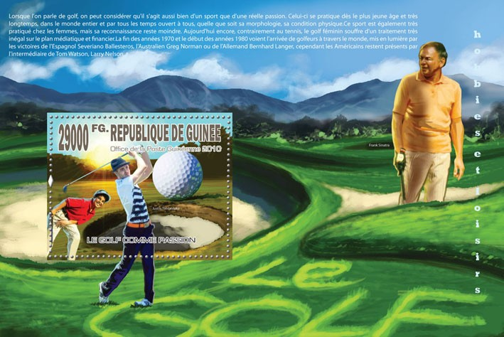 Passion of Golf, (J.Timberlake, F.Sinatra) - Issue of Guinée postage stamps
