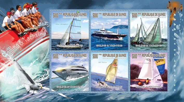 Sailing & Yachting, (CRN Blue Eyes, Ocean Emerald, RS Vareo, GP14 dingby) - Issue of Guinée postage stamps