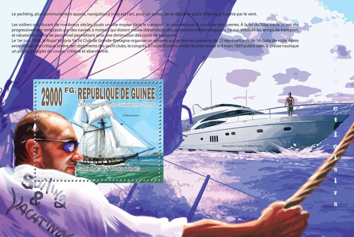 Sailing & Yachting, (Le Recouvrance, Viking Sport Cruiser 70 Motor Yacht) - Issue of Guinée postage stamps