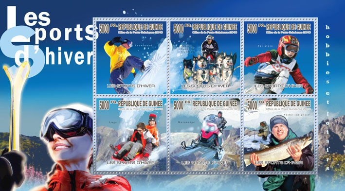 Winter Spots, (Snowboarding, Sled dog race, Alpine skiing, Luge, Snowmobile,  Fishing) - Issue of Guinée postage stamps