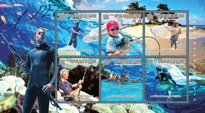 Passion of Fishing, (Fishing Boats, Fishes) - Issue of Guinée postage stamps