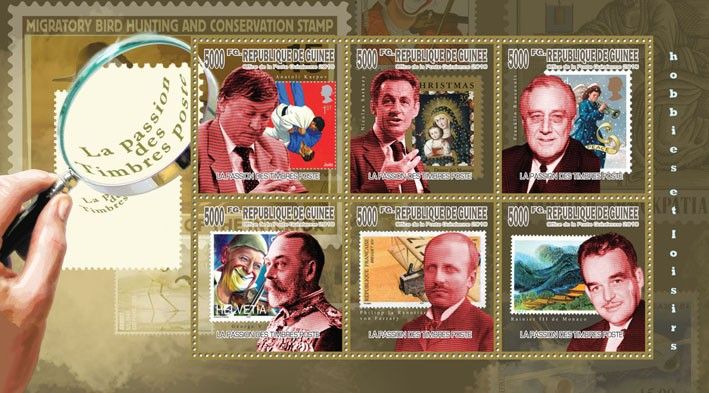 Passion of Post Stamps, (A.Karpov, N.Sarkozy, F.Roosevelt, George V) - Issue of Guinée postage stamps