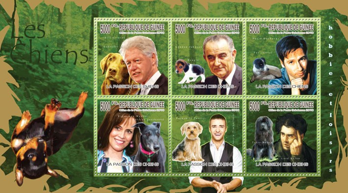 Dogs & Their Masters, (Labrador, Beagle, Fox-terrier, Yorkshire Terrier Newfoundland) - Issue of Guinée postage stamps