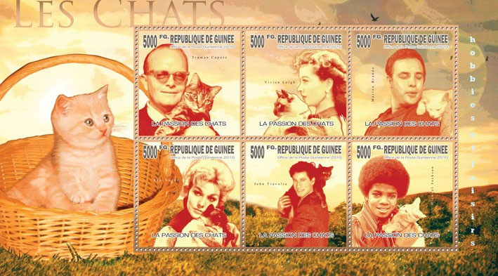 Cats & Their Masters, (T.Captore, M.Brando, K.Novak, J.Travolta, M.Jackson) - Issue of Guinée postage stamps