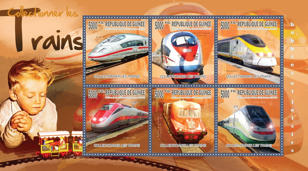 Collecting Trains - Issue of Guinée postage stamps