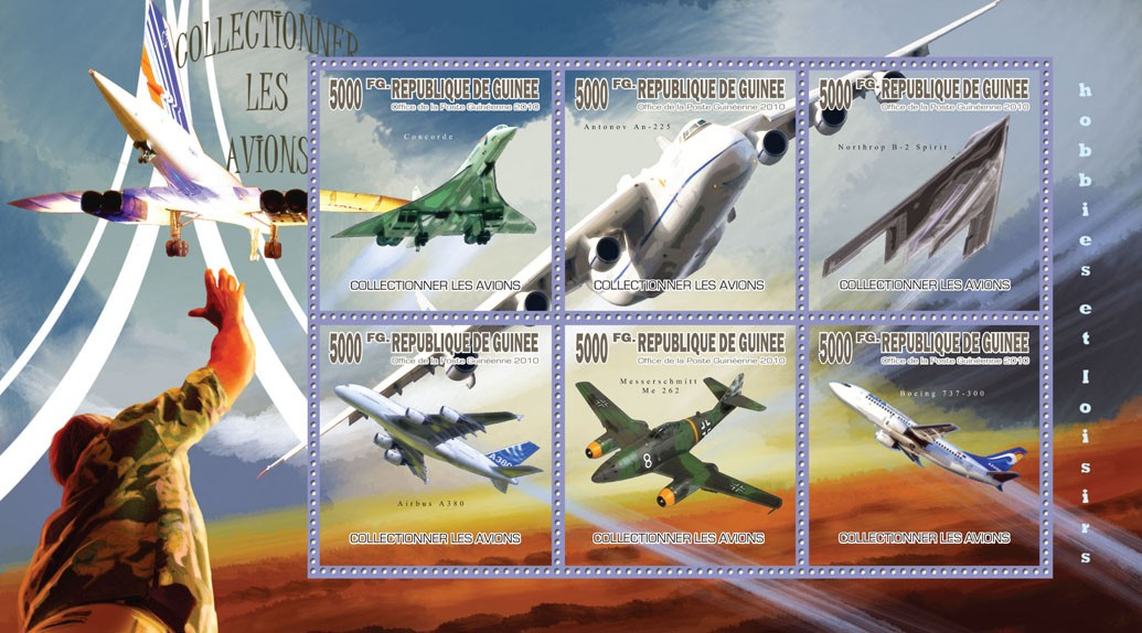 Collectible Planes - Issue of Guinée postage stamps