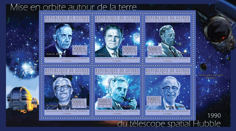 Orbit Around the Earth's Hubble Space Telescope 1990, ( Edwin Hubble, James E.Webb, Herman Oberth, Lyman Spitzer ). - Issue of Guinée postage stamps