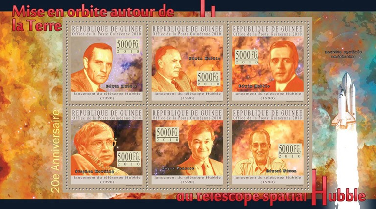 20th Anniversary of Orbit Around the Earth's Hubble Space Telescope, ( Edwin Hubble, Stephen Hawkins, Roger Pernose, Edward Witen ). - Issue of Guinée postage stamps