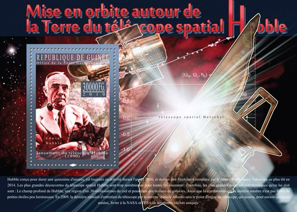 20th Anniversary of Orbit Around the Earth's Hubble, Space Telescope ( Edwin Hubble & Cat ). - Issue of Guinée postage stamps