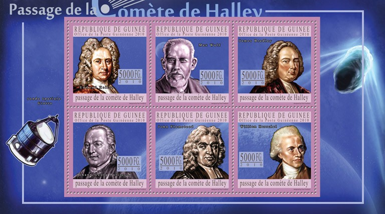 Passage of Halley's Comet, ( E.Halley, M.Wolf, J.Bradley, J.G. Palitzesch, J.Flamsteed, W.Hersheld ). - Issue of Guinée postage stamps