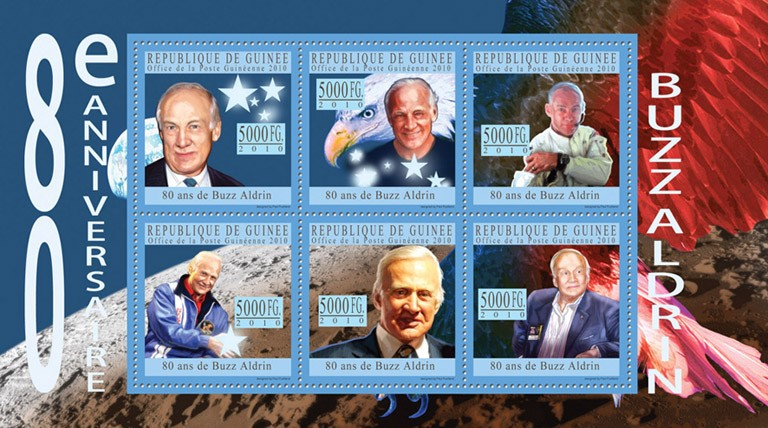 80th Anniversary of Buzz Aldrin I. - Issue of Guinée postage stamps