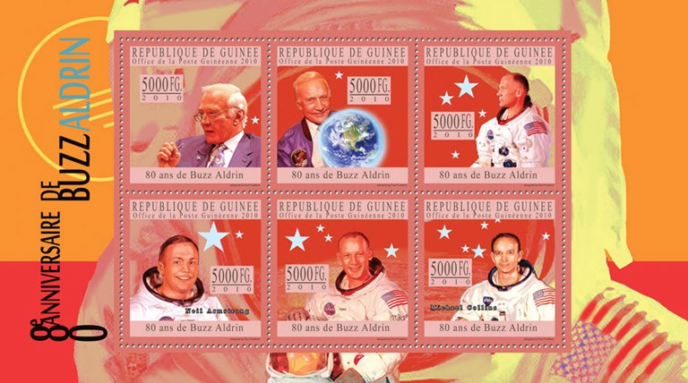 80th Anniversary of Buzz Aldrin II. - Issue of Guinée postage stamps