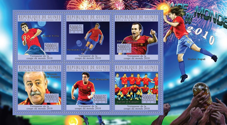 World Football Cup - South Africa 2010, ( Spain ). - <I><u><B><FONT color=#cc0000>SOLD_OUT</FONT></B> &#8211; Issue of Guinée postage stamps&rsquo;/></a></div> <div class=
