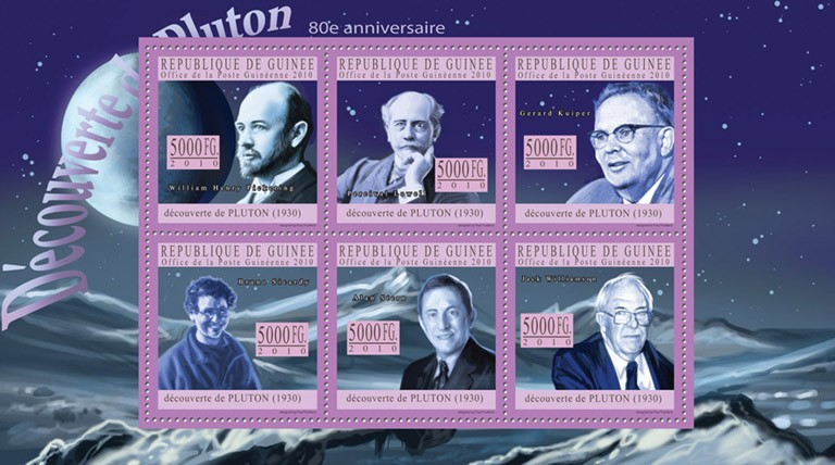 80th Anniversary of Discovery of Pluton, ( W.H.Pickering, P,Lowell, G.Kuiper, B.Sicardy, A.Stern, J.Williamson ). - Issue of Guinée postage stamps