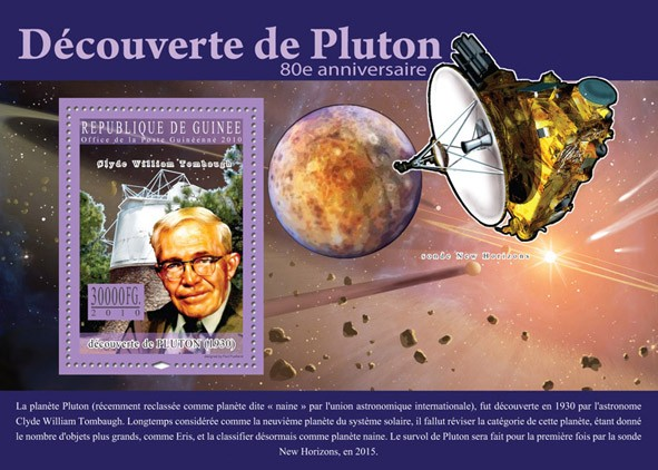 80th Anniversary of Discovery of Pluton, ( Clyde William Tombaugh ) - Issue of Guinée postage stamps