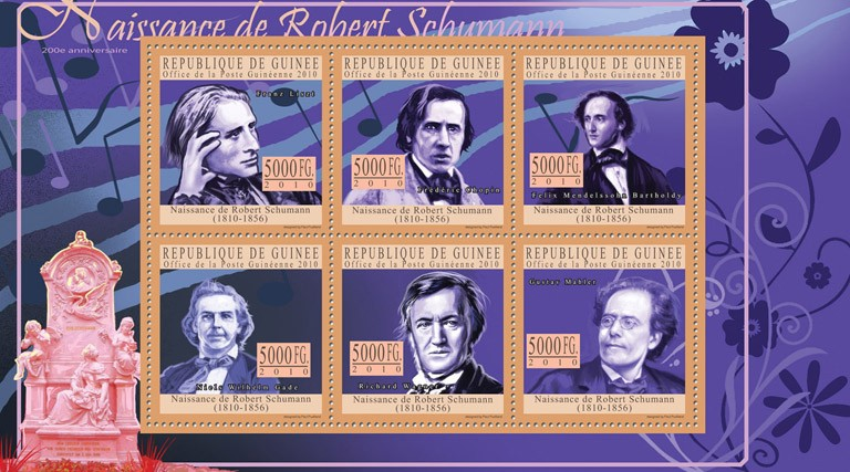 200th Anniversary of Birth of Robert Shumann. - Issue of Guinée postage stamps