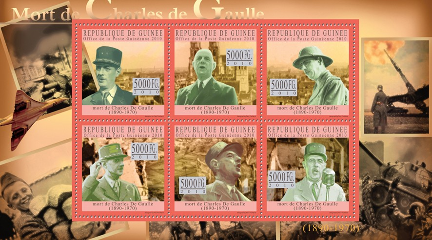 Charles De Gaulle (green) - Issue of Guinée postage stamps