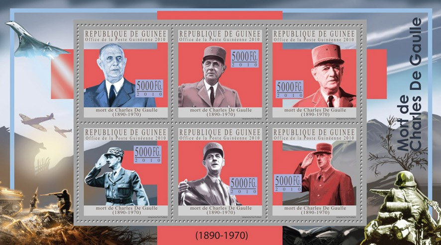 Charles De Gaulle (blue) - Issue of Guinée postage stamps