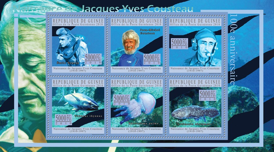 Jacques-Yves Cousteau (1910-1997) - Issue of Guinée postage stamps