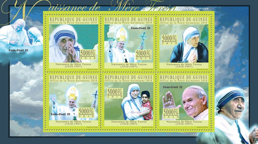Mother Terresa (1910-1997) (green) - Issue of Guinée postage stamps