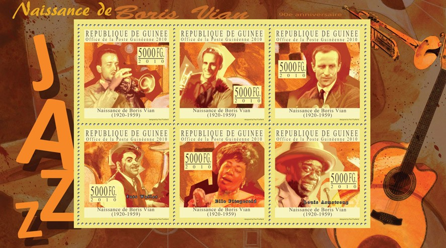 Boris Vian (1920-1959) - Issue of Guinée postage stamps