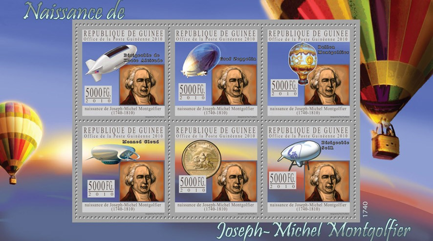 Joseph de Montgolfier (1740-1810) - Issue of Guinée postage stamps