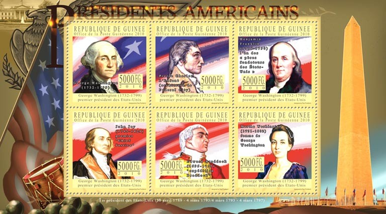 The Presidents of USA George Washington,( 1732-1799 ) - Issue of Guinée postage stamps