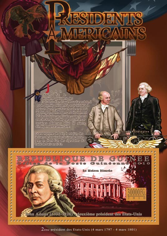 The Presidents of USA John Adams, ( 1735-1826 ) - Issue of Guinée postage stamps