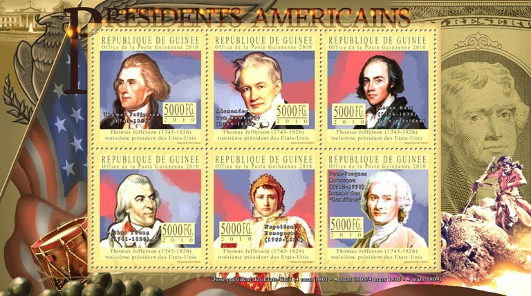 The Presidents of USA Thomas Jeferson, ( 1743-1826 ) - Issue of Guinée postage stamps