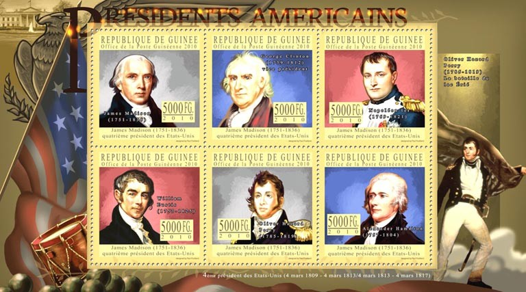 The Presidents of USA James Madison ( 1751-1836 ) - Issue of Guinée postage stamps