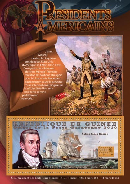 The Presidents of USA - James Monroe (1758-1831) - Issue of Guinée postage stamps