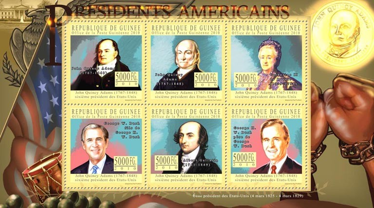 The Presidents of USA - John Q. Adams (1767-1848) - Issue of Guinée postage stamps