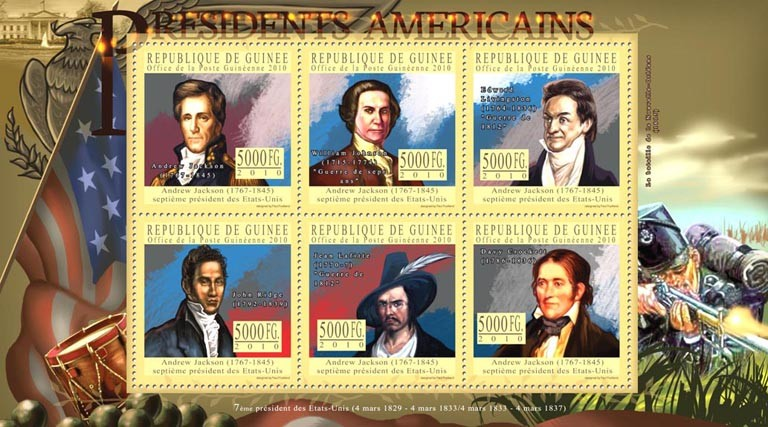 The Presidents of USA - Andrew Jackson (1767-1845) - Issue of Guinée postage stamps