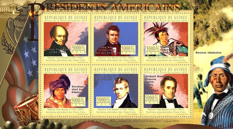 The Presidents of USA - Martin Van Buren (1782-1862) - Issue of Guinée postage stamps