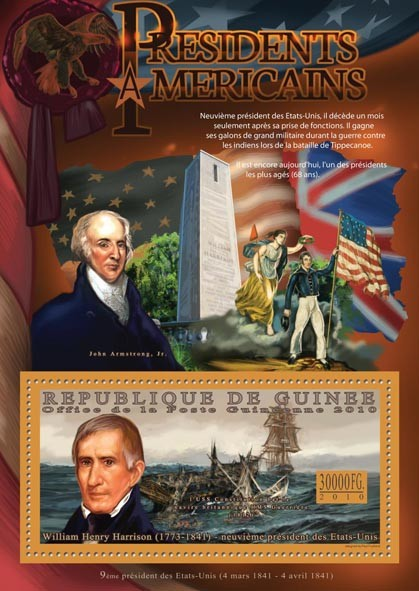 The President of USA, William H. Harrison (1773-1841). - Issue of Guinée postage stamps
