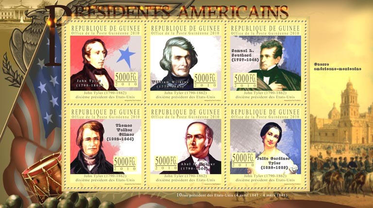 The President of USA, John Tyler (1790-1862). - Issue of Guinée postage stamps