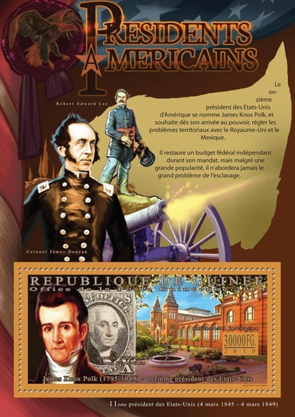 The President of USA, James K. Polk (1795-1849). - Issue of Guinée postage stamps