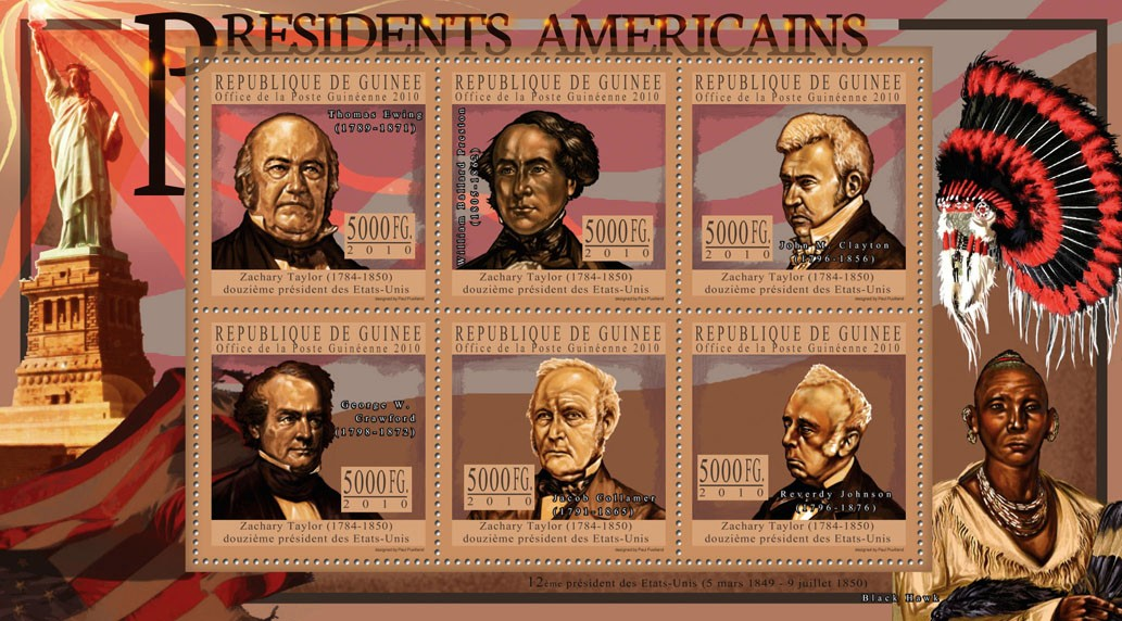 The President of USA - Zachary Taylor - Issue of Guinée postage stamps