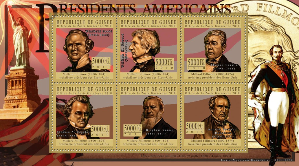The President of USA - Millard Fillmore - Issue of Guinée postage stamps