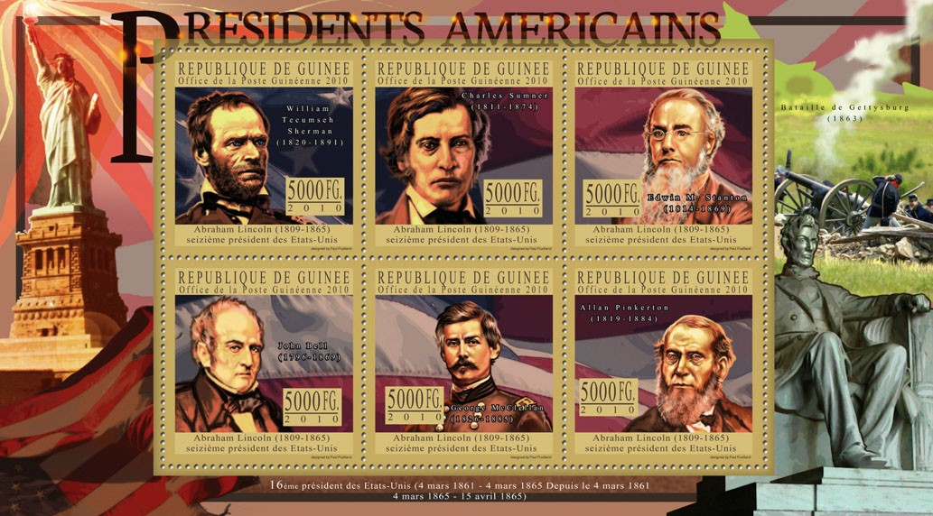 The President of USA - Issue of Guinée postage stamps