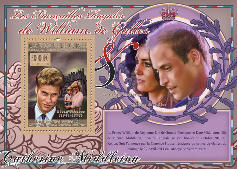 The Royal Engagement - Prince William & Kate Middleton. - Issue of Guinée postage stamps