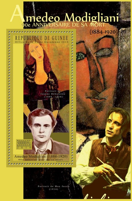 90th Anniversary of Death of Amadeo Modigliani - Issue of Guinée postage stamps