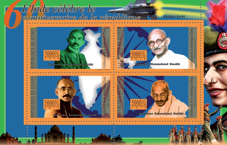60 Year Republic of India, (M.K.Gandhi). - Issue of Guinée postage stamps