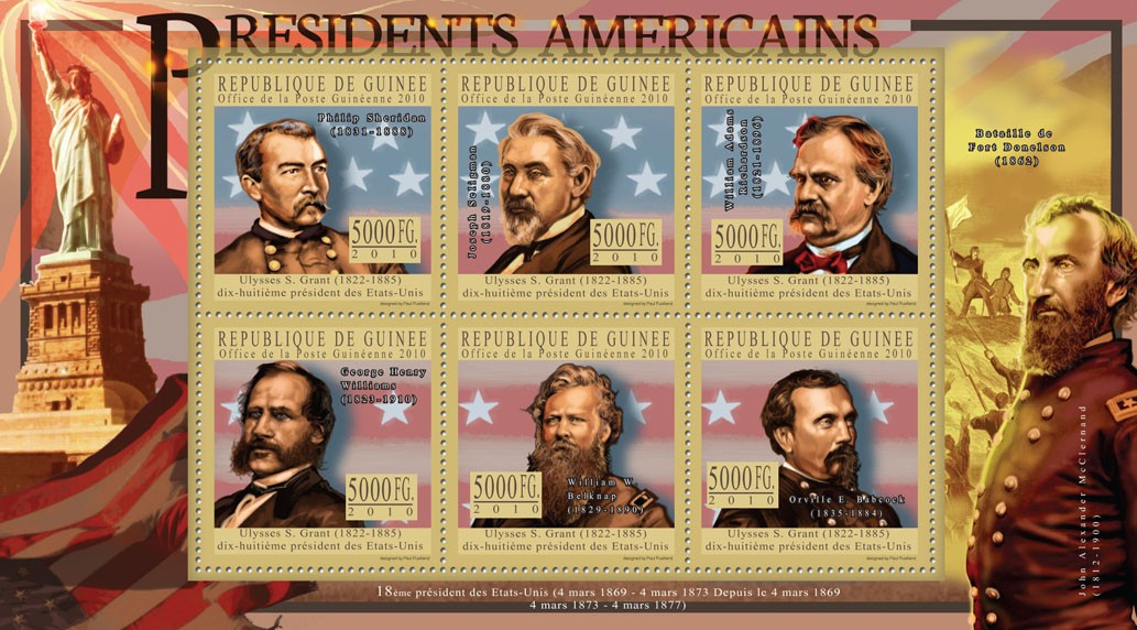 The President of USA - Ulysses S. Grant - Issue of Guinée postage stamps