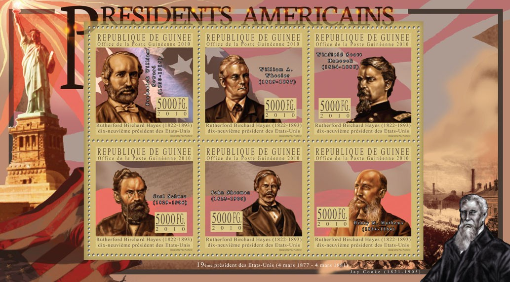The President of USA - Rutherford B. Hayes - Issue of Guinée postage stamps