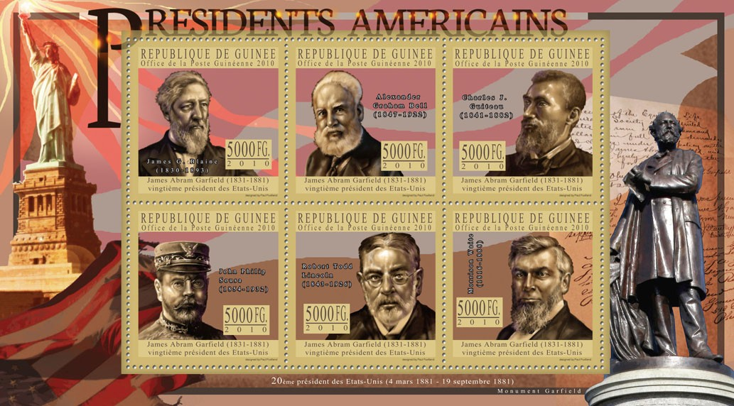 The President of USA - James A. Garfield - Issue of Guinée postage stamps