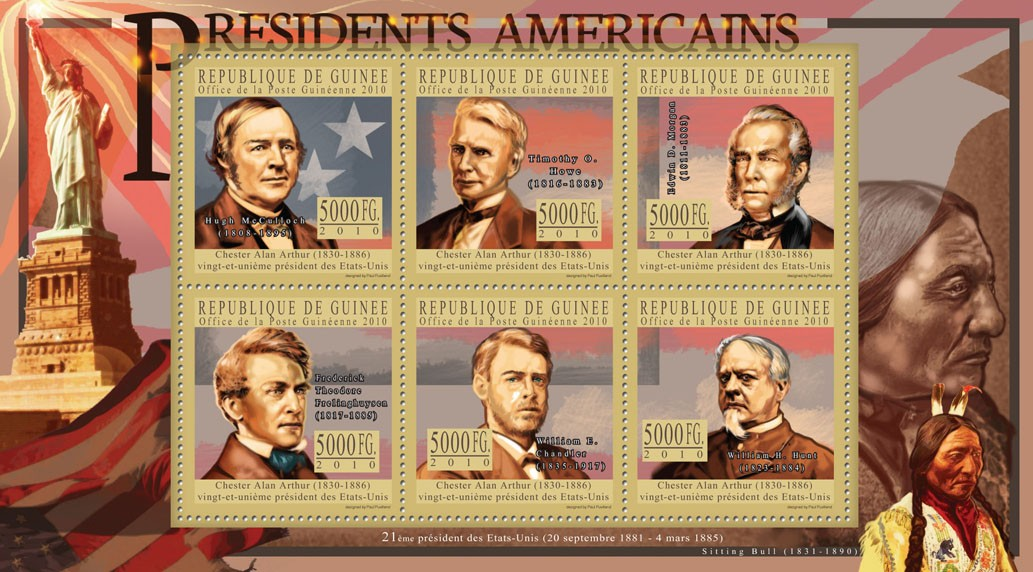 The President of USA - Chester A. Arthur - Issue of Guinée postage stamps
